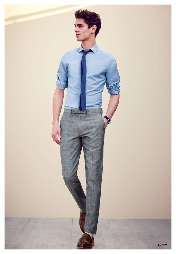پیراهن آبی و شلوار طوسی من استایل