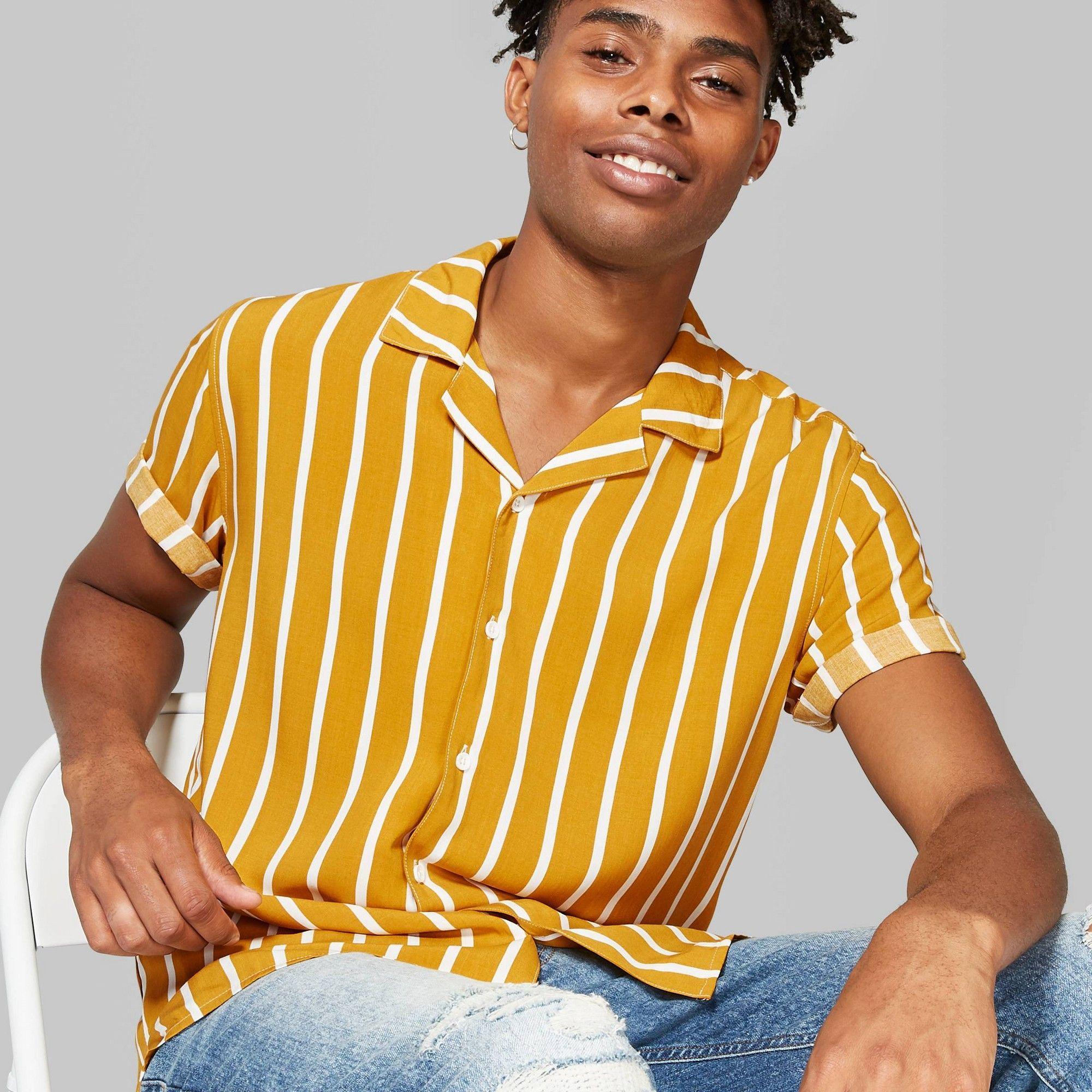 پیراهن آستین کوتاه زرد مردانه من استایل