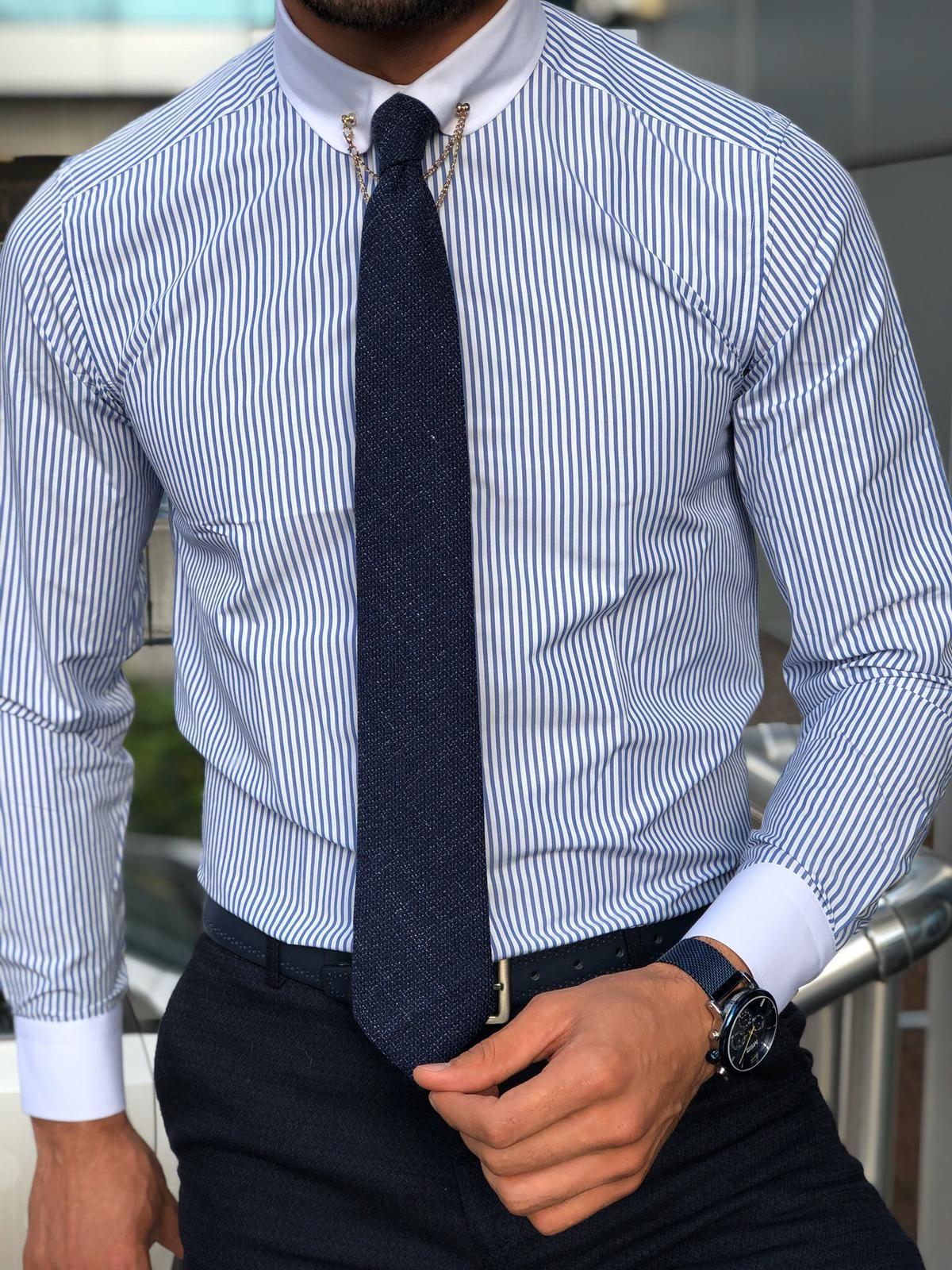 پیراهن مردانه راه راه ریز گل نرگس